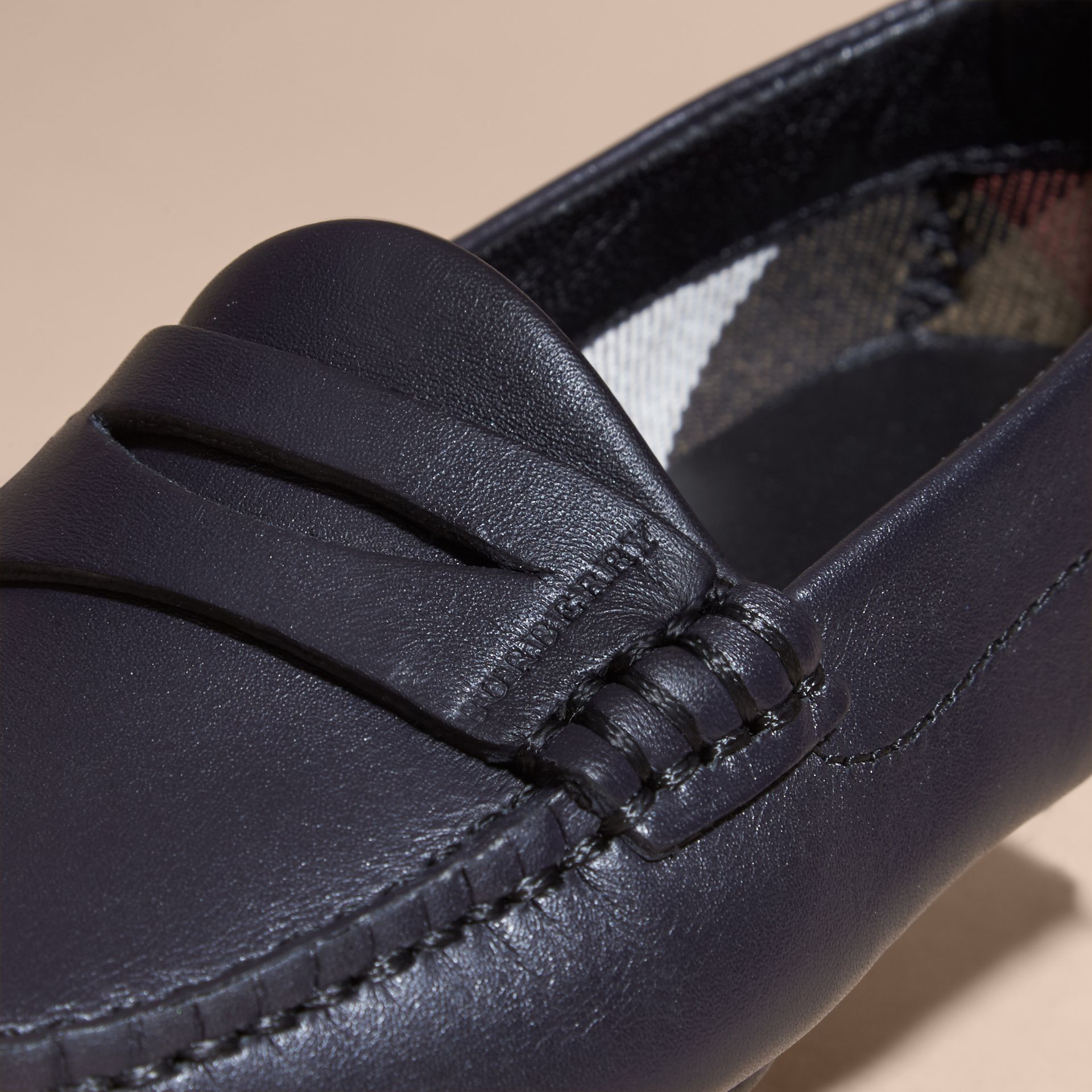 Navy Leather Loafers - gallery image 2