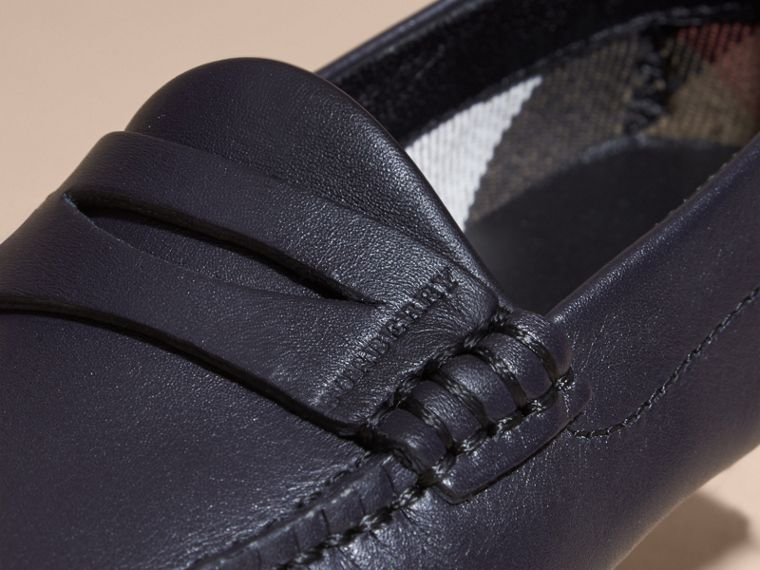 Navy Leather Loafers - cell image 1