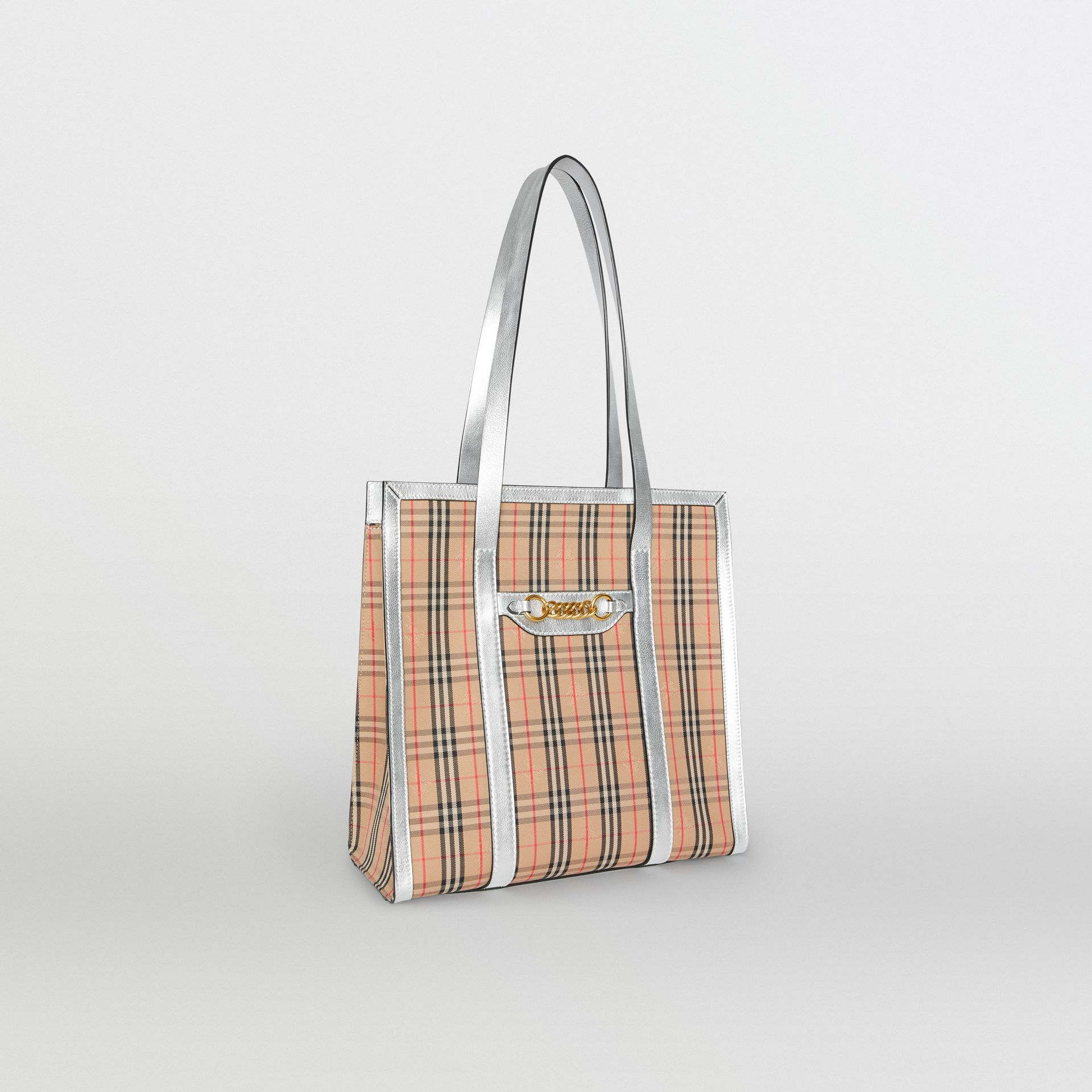 The Small 1983 Check Link Tote Bag in Silver - Women | Burberry United States - gallery image 6