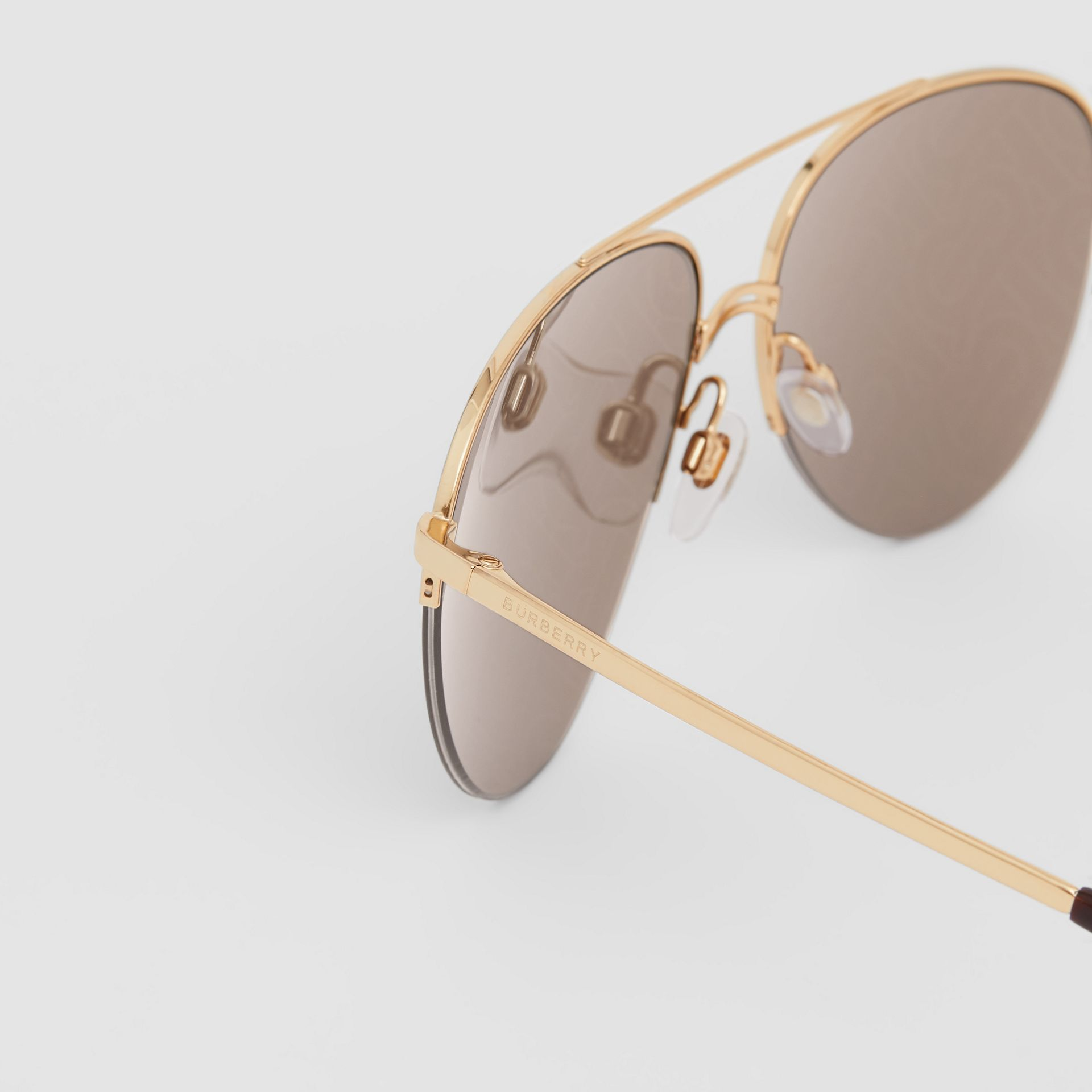 Monogram Print Detail Pilot Sunglasses in Dark Brown - Women | Burberry Canada - gallery image 1
