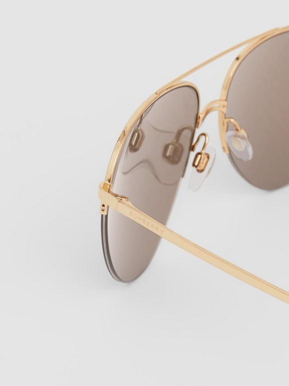 Monogram Print Detail Pilot Sunglasses in Dark Brown - Women | Burberry Canada - cell image 1