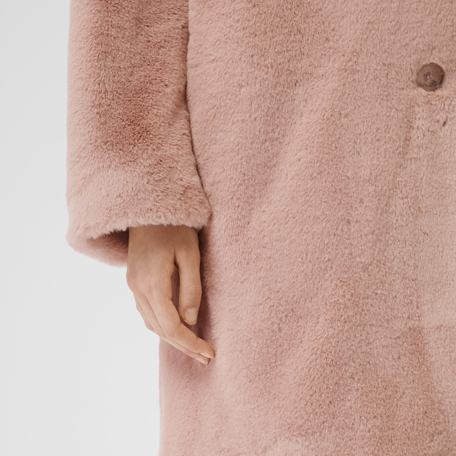 Faux Fur Single-breasted Coat in Pale Blush - Women | Burberry - gallery image 4
