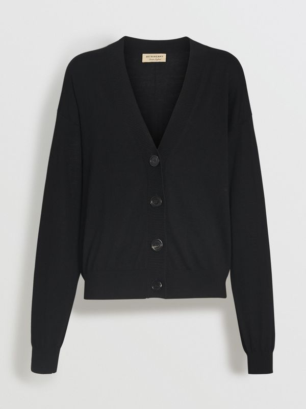 Logo Intarsia Merino Wool Cardigan in Black - Women | Burberry United States - cell image 3