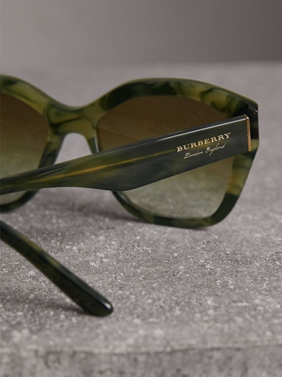 Square Frame Sunglasses in Smokey Green - Women | Burberry - cell image 1