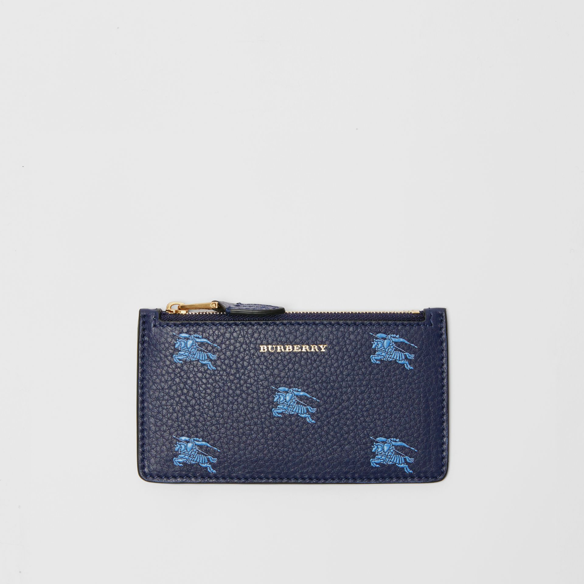 Equestrian Knight Leather Zip Card Case in Regency Blue - Women | Burberry - gallery image 0