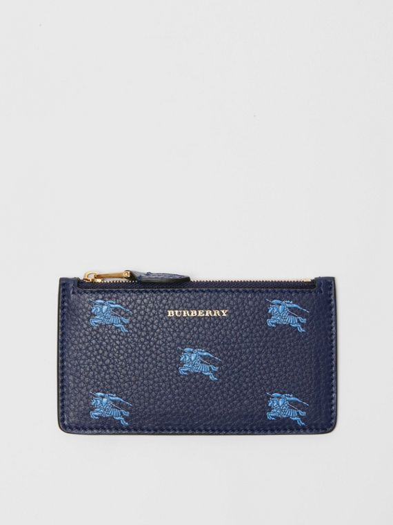 Equestrian Knight Leather Zip Card Case in Regency Blue