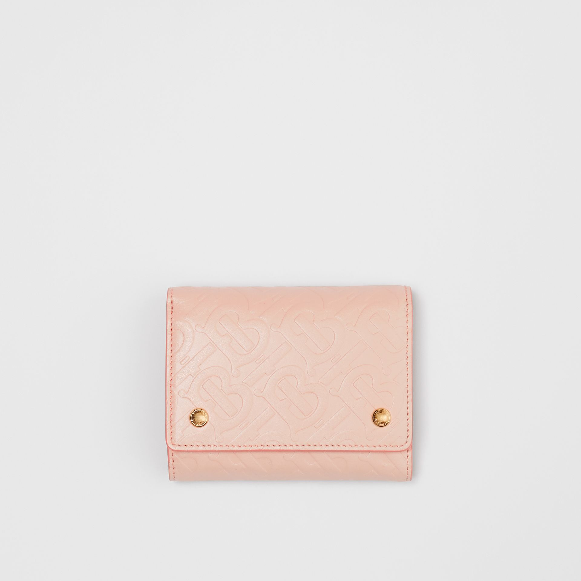 Small Monogram Leather Folding Wallet in Rose Beige | Burberry Australia - gallery image 0