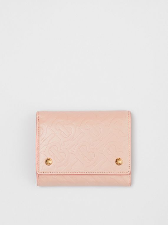 Small Monogram Leather Folding Wallet in Rose Beige