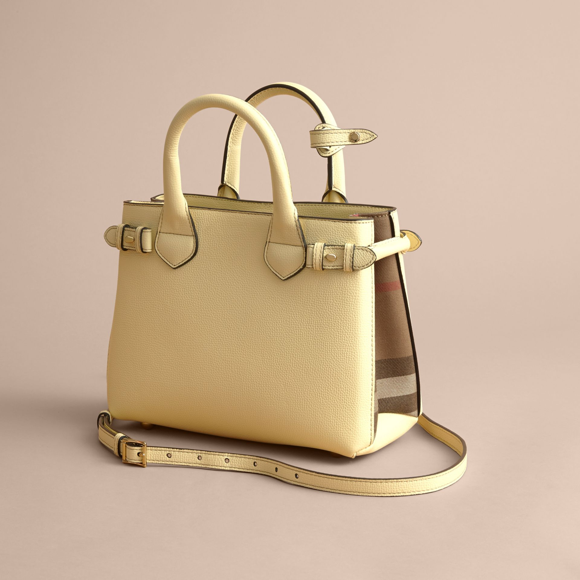 The Small Banner in Leather and House Check in Camomile Yellow - Women | Burberry - gallery image 5