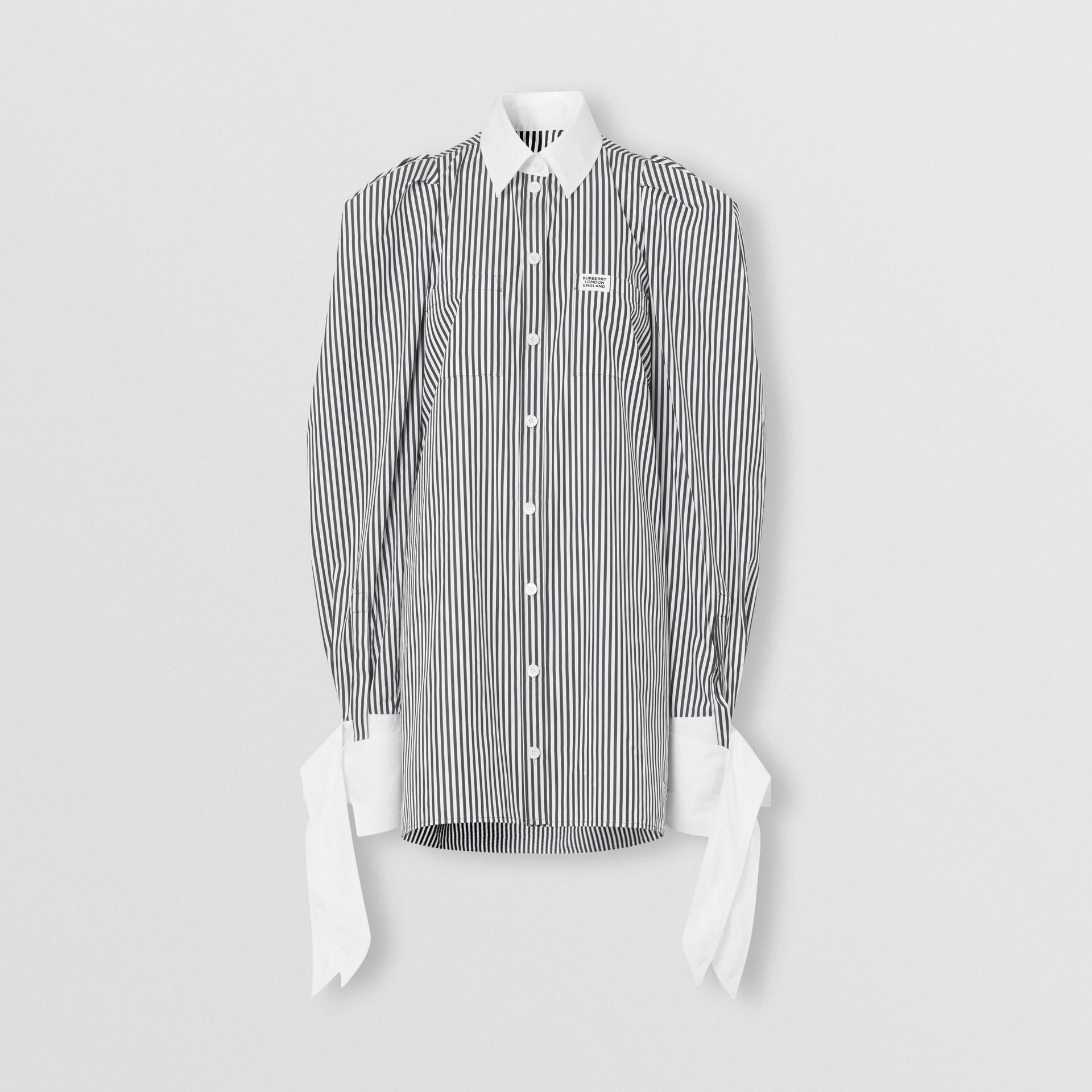 Vestido estilo camisa de popeline de algodão listrado com etiqueta de logotipo (Preto) - Mulheres | Burberry - galeria de imagens 3