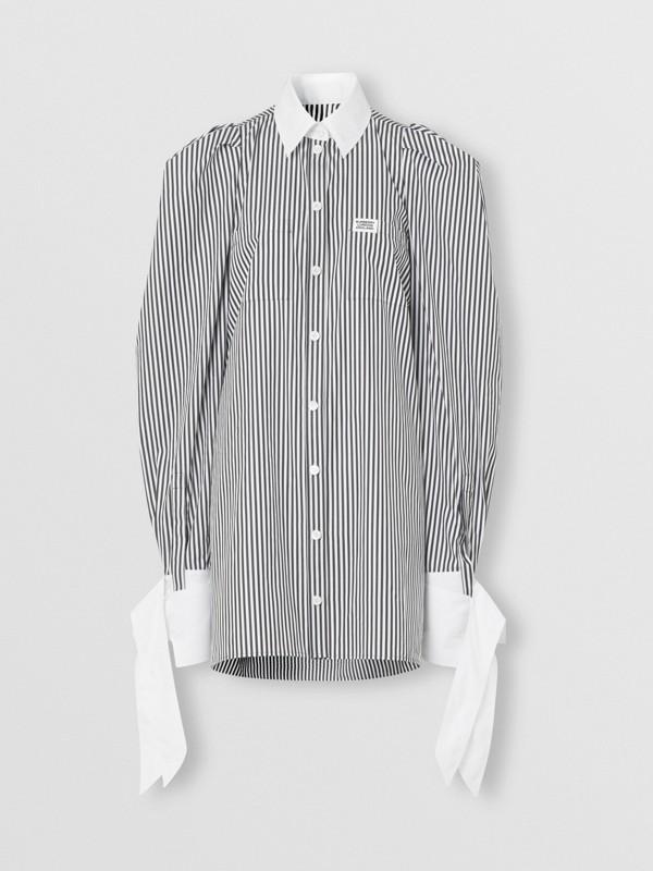 Vestido estilo camisa de popeline de algodão listrado com etiqueta de logotipo (Preto) - Mulheres | Burberry - cell image 3