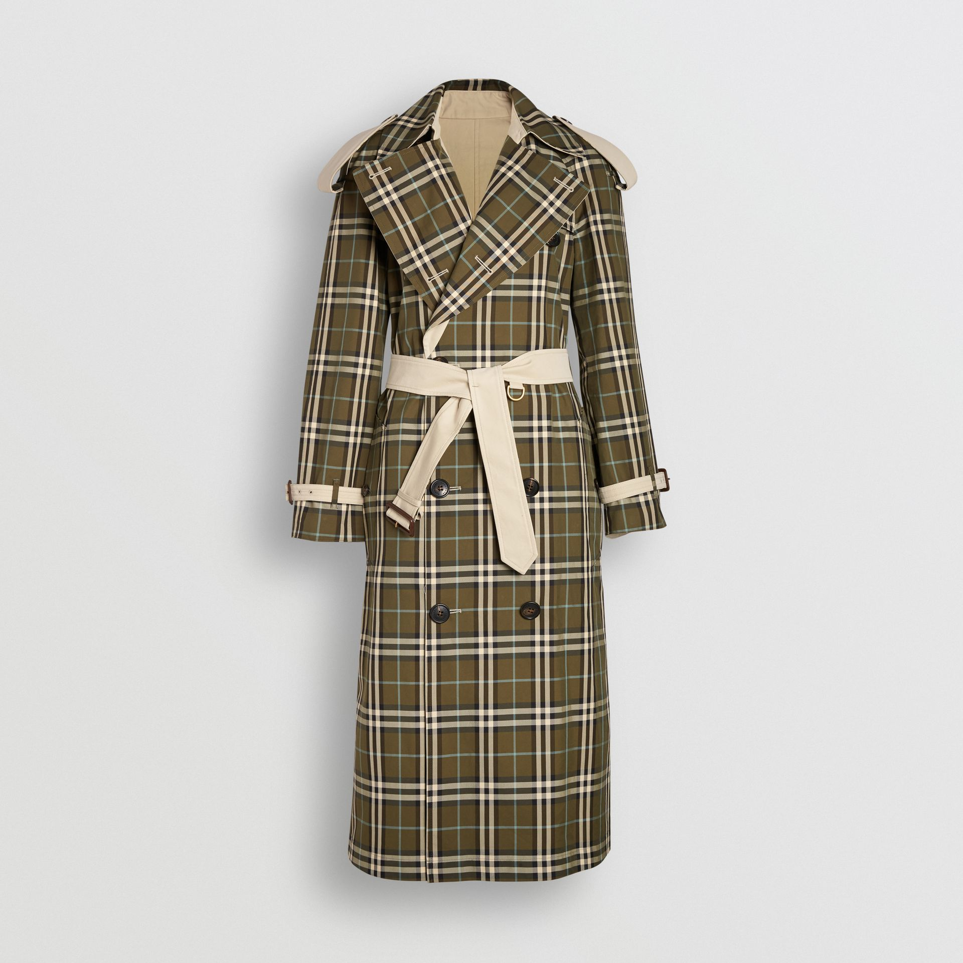 Reversible Tropical Gabardine and Check Trench Coat in Olive Green - Women | Burberry - gallery image 3