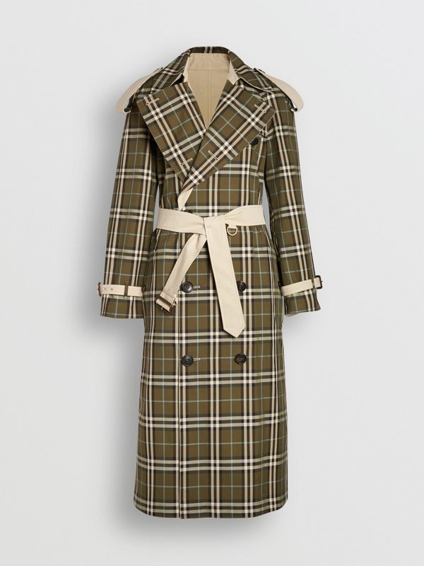 Reversible Tropical Gabardine and Check Trench Coat in Olive Green - Women | Burberry - cell image 3