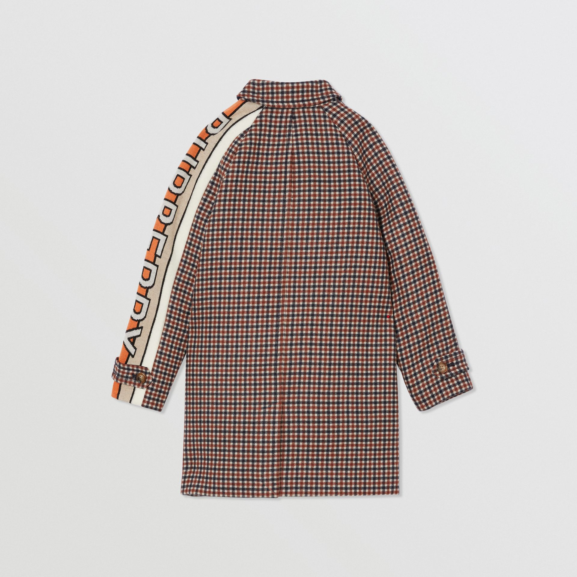 Logo Jacquard Check Wool Car Coat in Rust Brown | Burberry Australia - gallery image 3