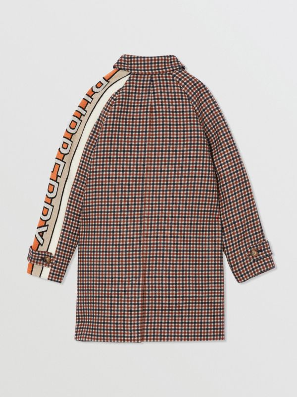 Logo Jacquard Check Wool Car Coat in Rust Brown | Burberry - cell image 3