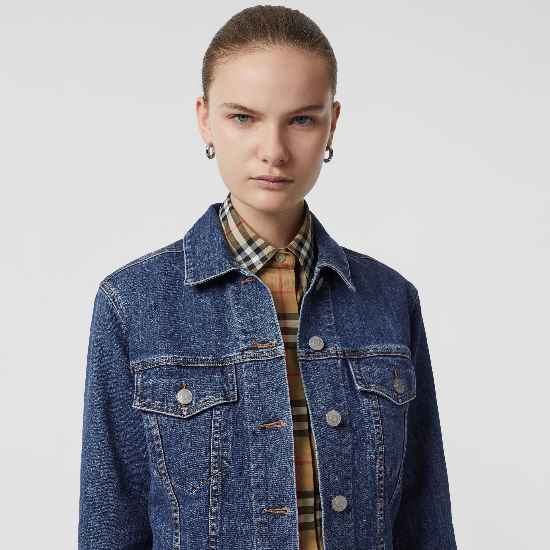 Embroidered Crest Denim Jacket in Blue - Women | Burberry United States - gallery image 4