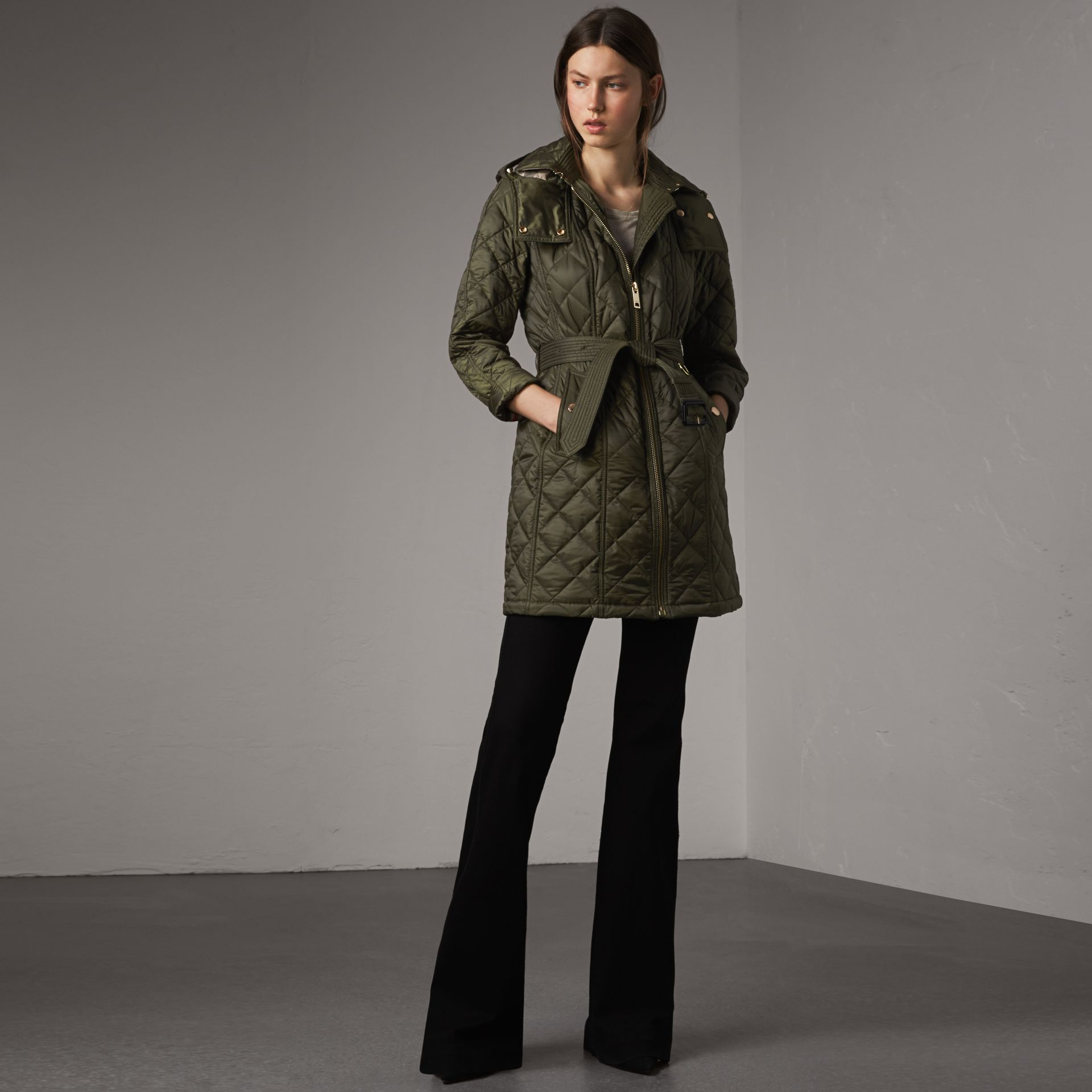 Detachable Hood Quilted Showerproof Parka in Military Khaki - Women | Burberry United States - gallery image 0
