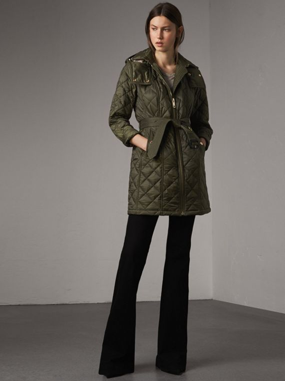 Detachable Hood Quilted Showerproof Parka in Military Khaki