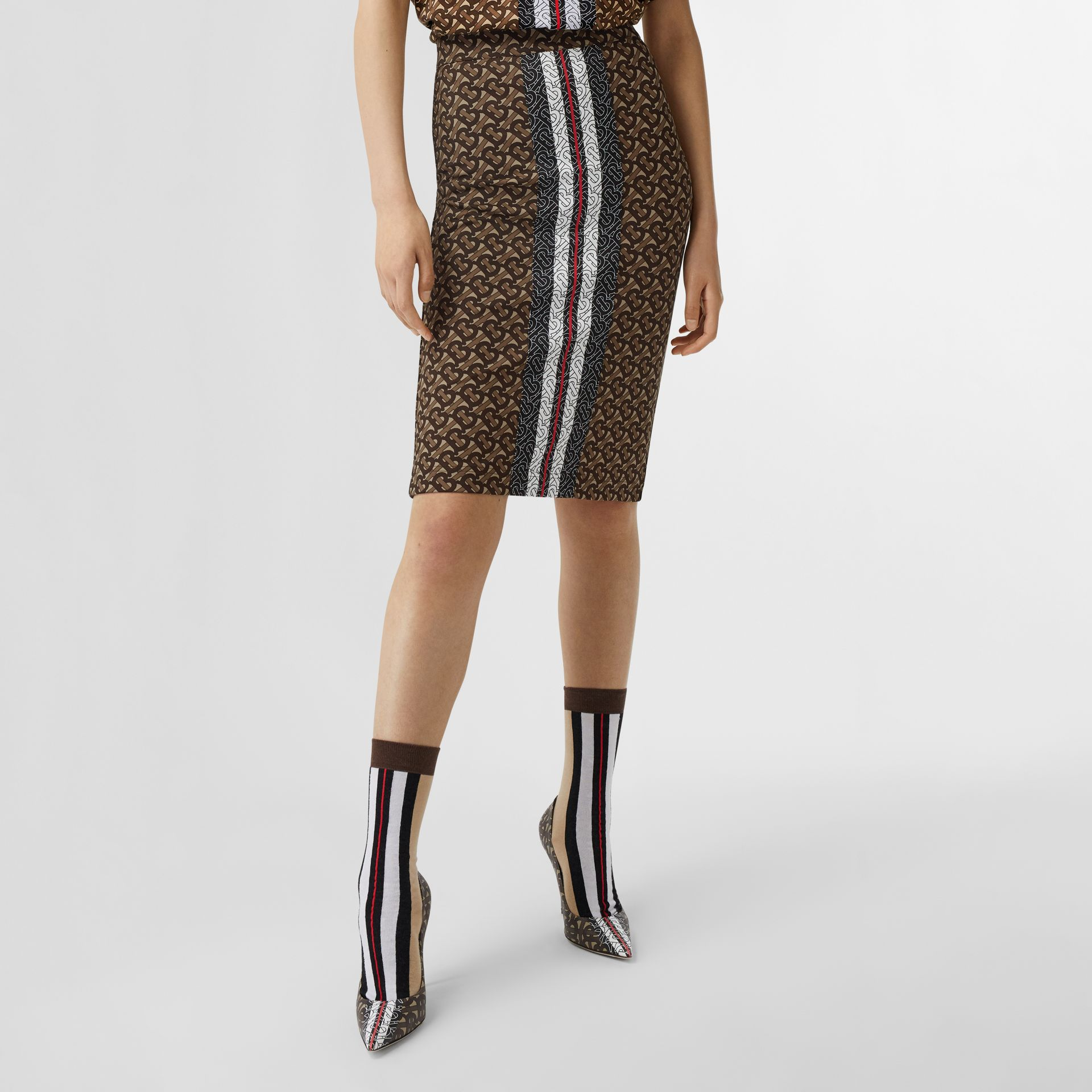 Monogram Stripe Print Stretch Jersey Pencil Skirt in Bridle Brown - Women | Burberry - gallery image 4