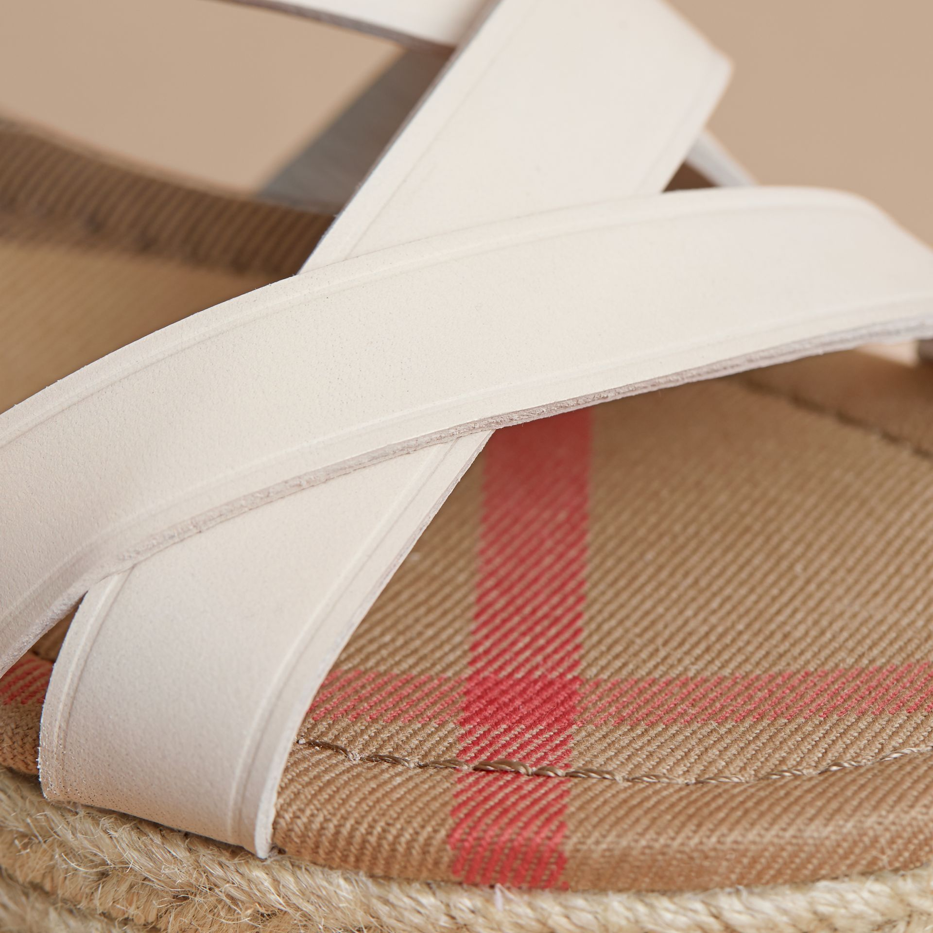 Leather and House Check Espadrille Sandals in Off White - Women | Burberry - gallery image 2