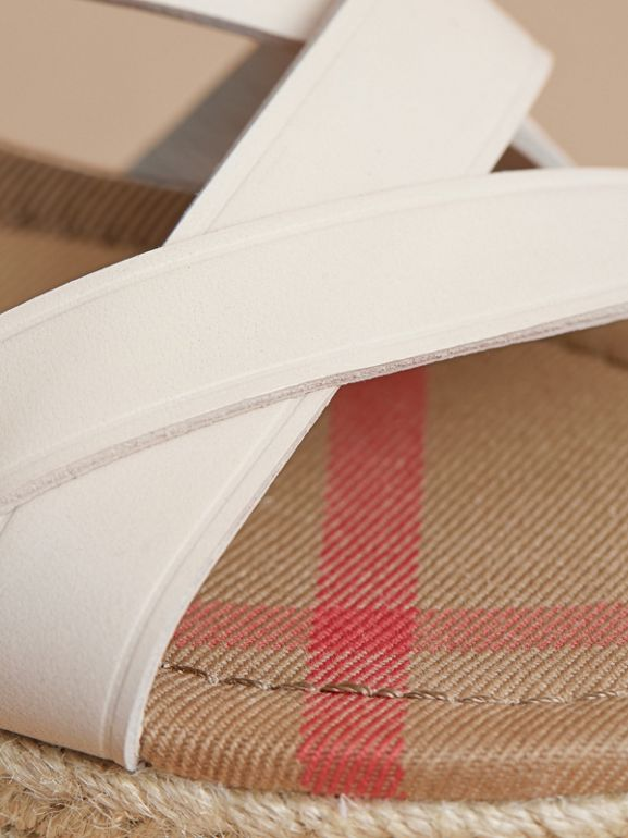 Leather and House Check Espadrille Sandals in Off White | Burberry United States - cell image 1