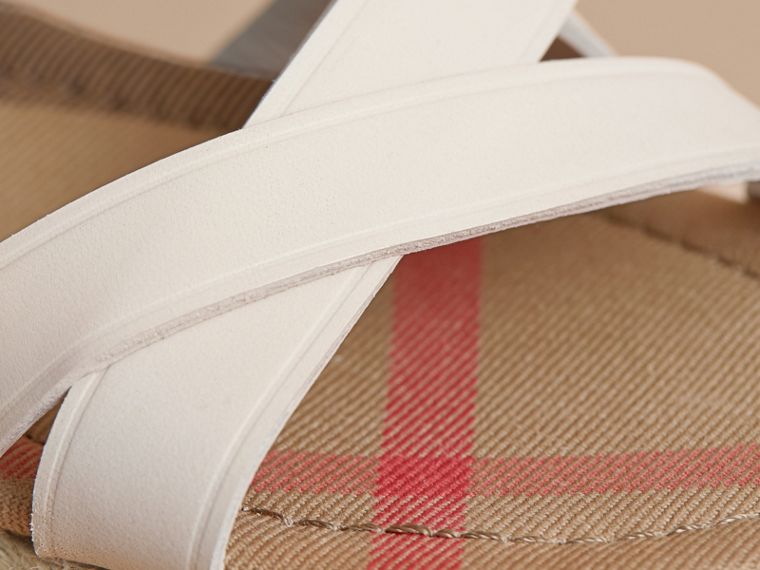 Leather and House Check Espadrille Sandals in Off White - Women | Burberry - cell image 1
