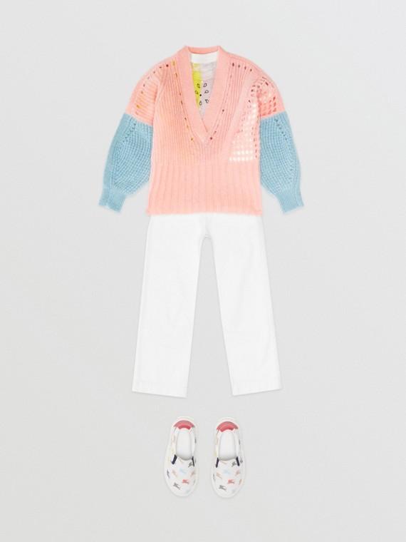 Pullover aus Mohairwolle mit Kontrastdetails (Hellrosa)