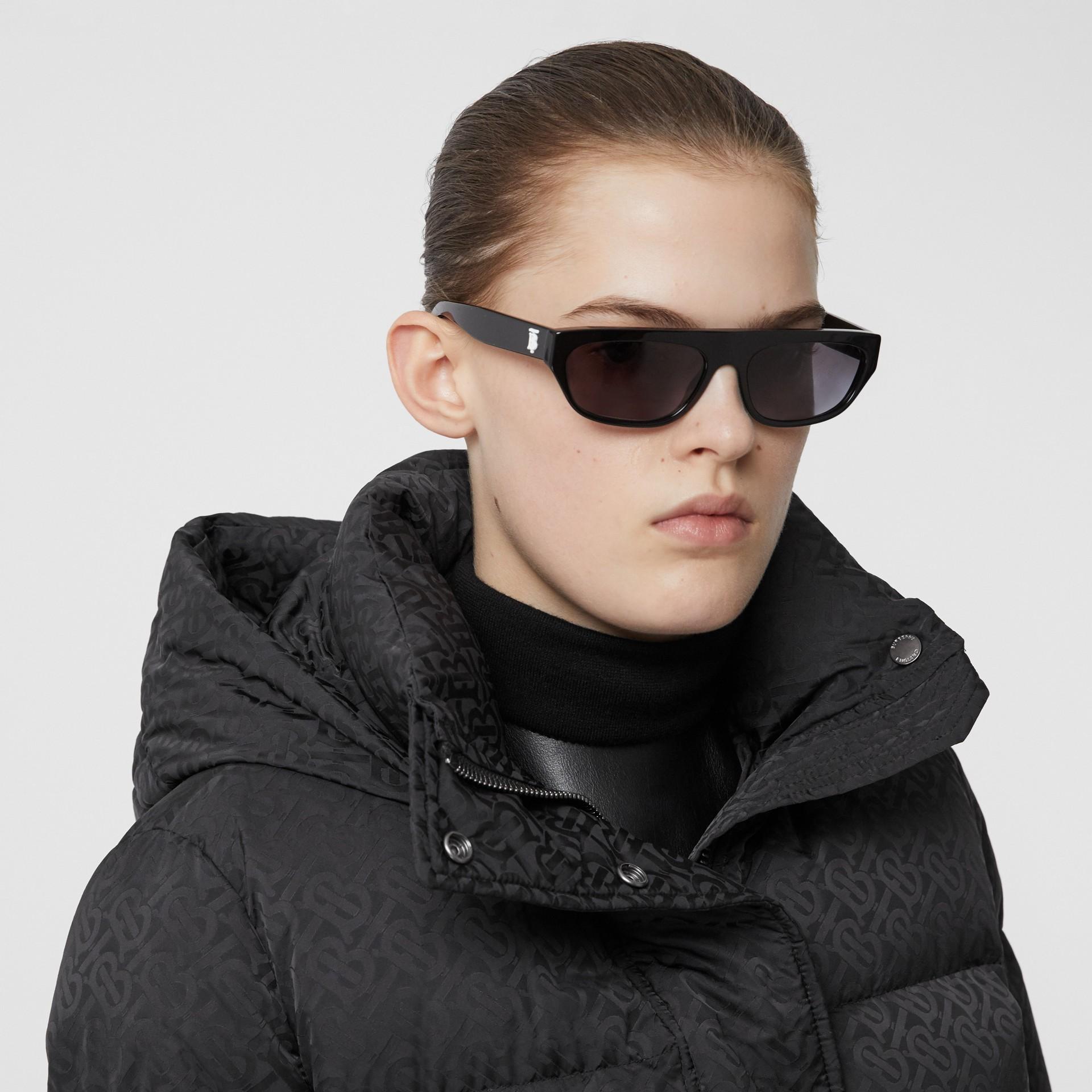 Detachable Hood Monogram ECONYL® Puffer Jacket in Black - Women | Burberry - gallery image 1