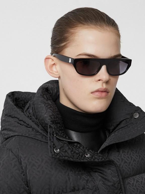 Detachable Hood Monogram ECONYL® Puffer Jacket in Black - Women | Burberry - cell image 1