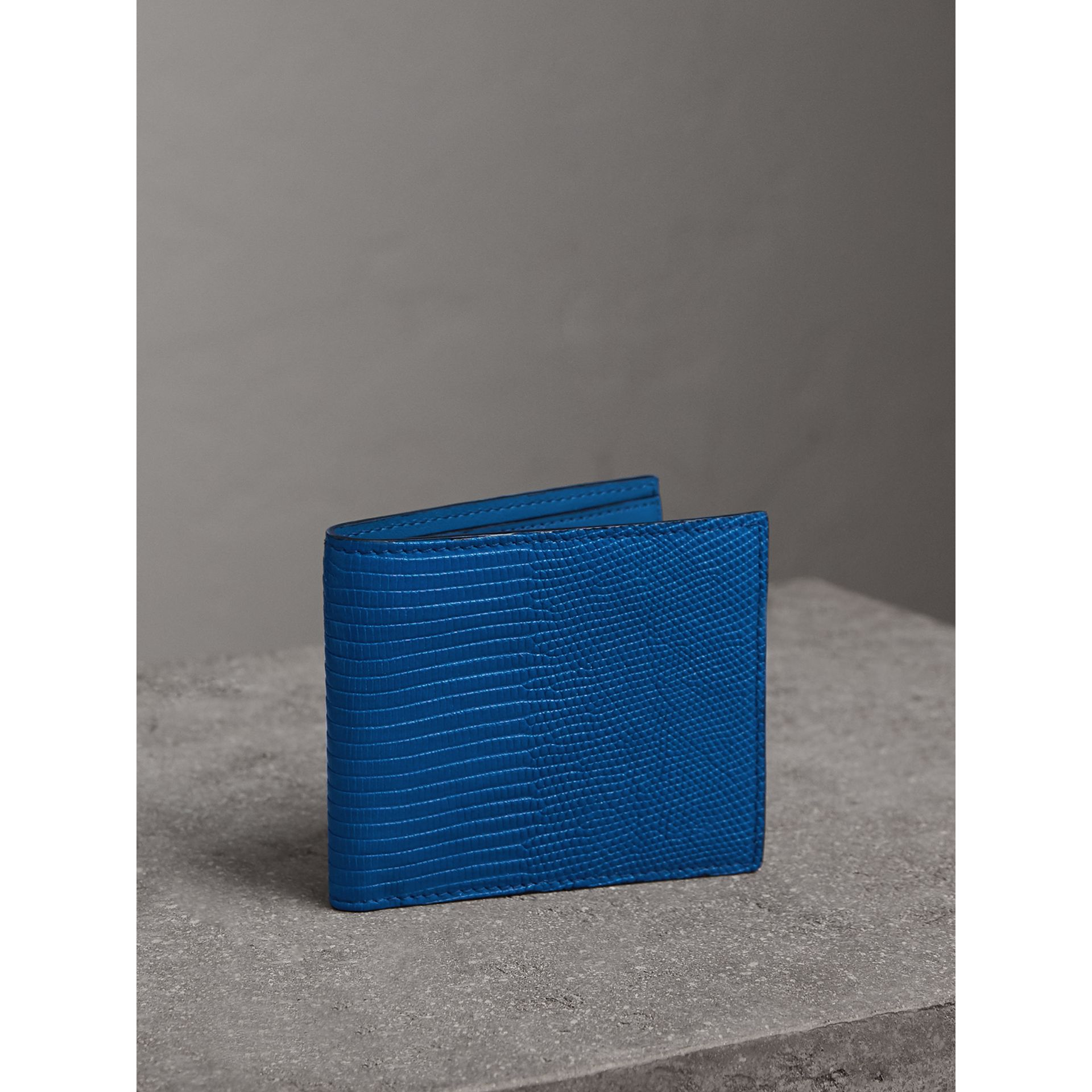 Lizard International Bifold Wallet in Sapphire Blue - Men | Burberry United Kingdom - gallery image 1