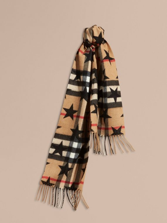 The Mini Classic Cashmere Scarf in Check with Star Print in Black | Burberry - cell image 3
