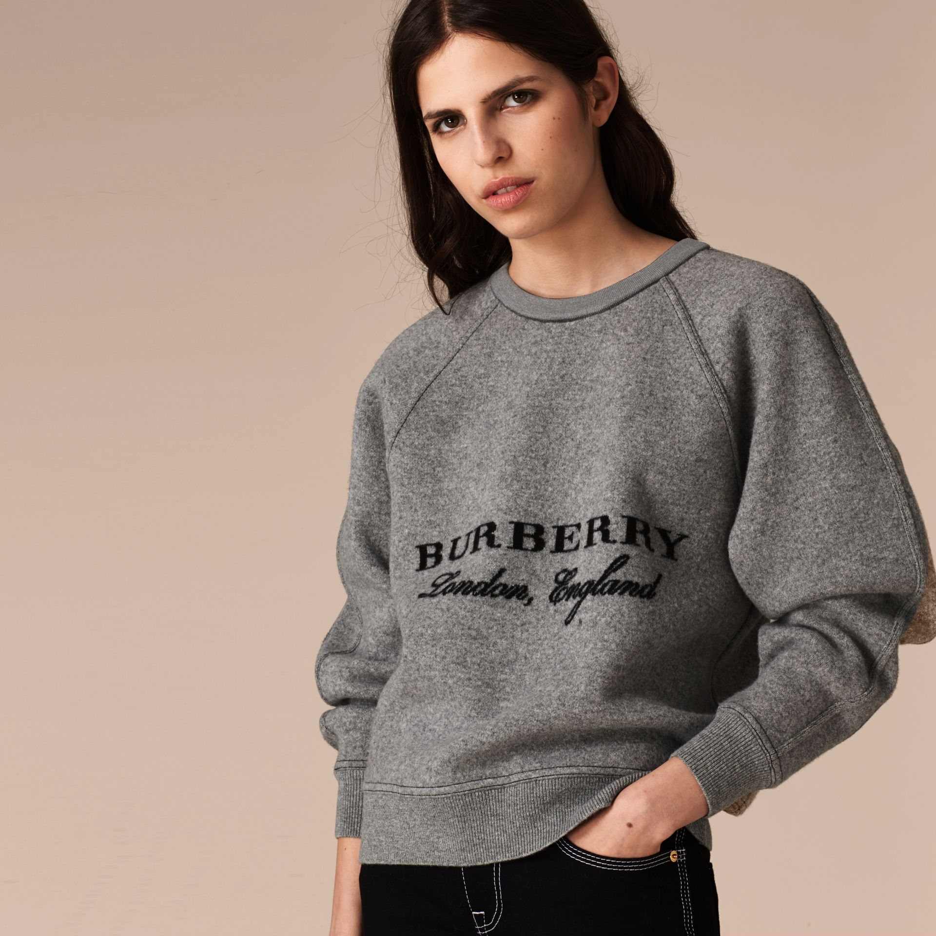Grigio medio mélange/nero Pullover strutturato in lana e cashmere Grigio Medio Mélange/nero - immagine della galleria 5