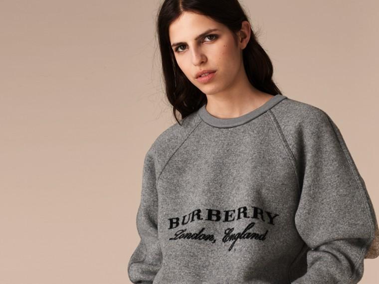 Midgrey melange/black Wool Cashmere Sculpted Sweatshirt Midgrey Melange/black - cell image 4
