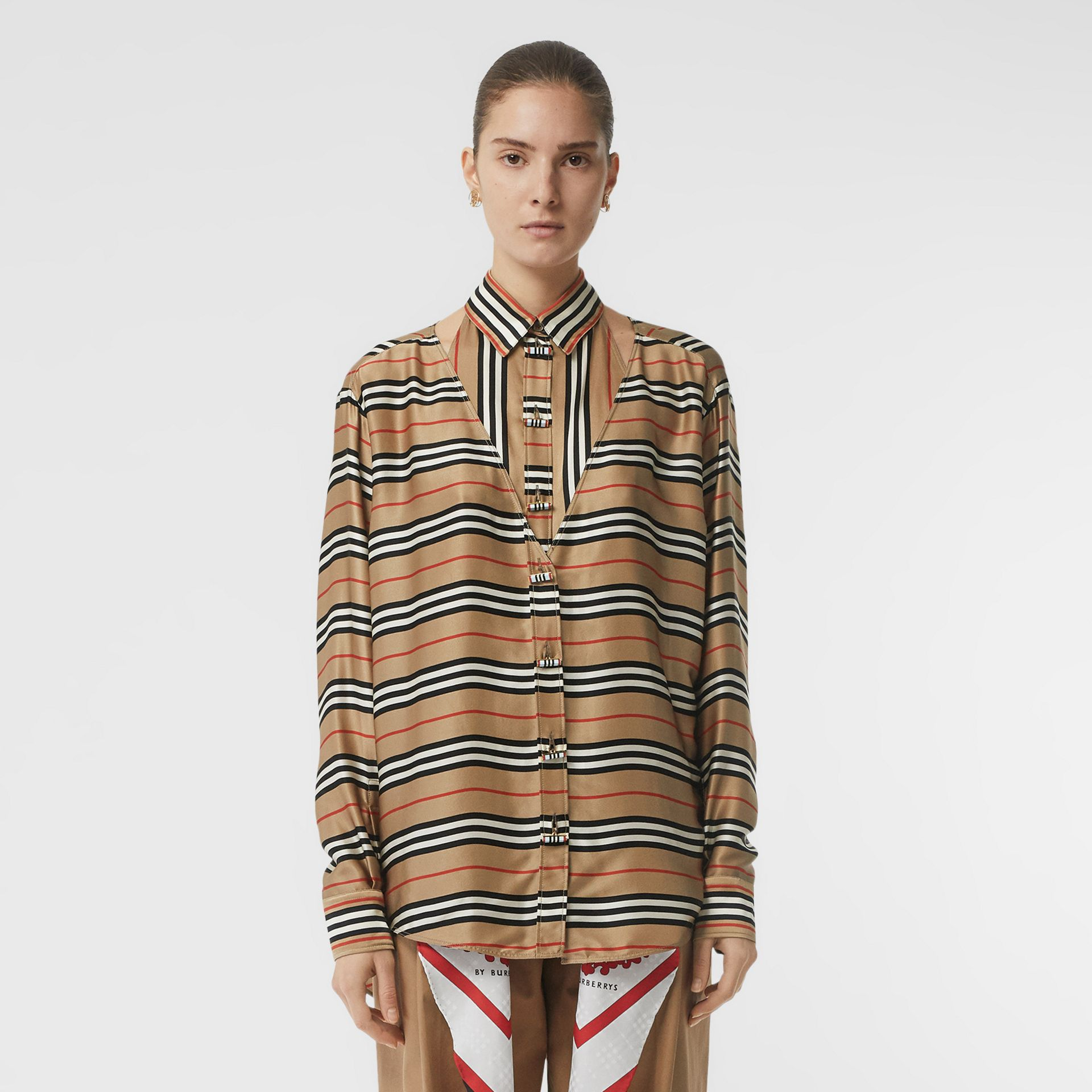 Cut-out Detail Icon Stripe Silk Oversized Shirt in Archive Beige - Women | Burberry - gallery image 4