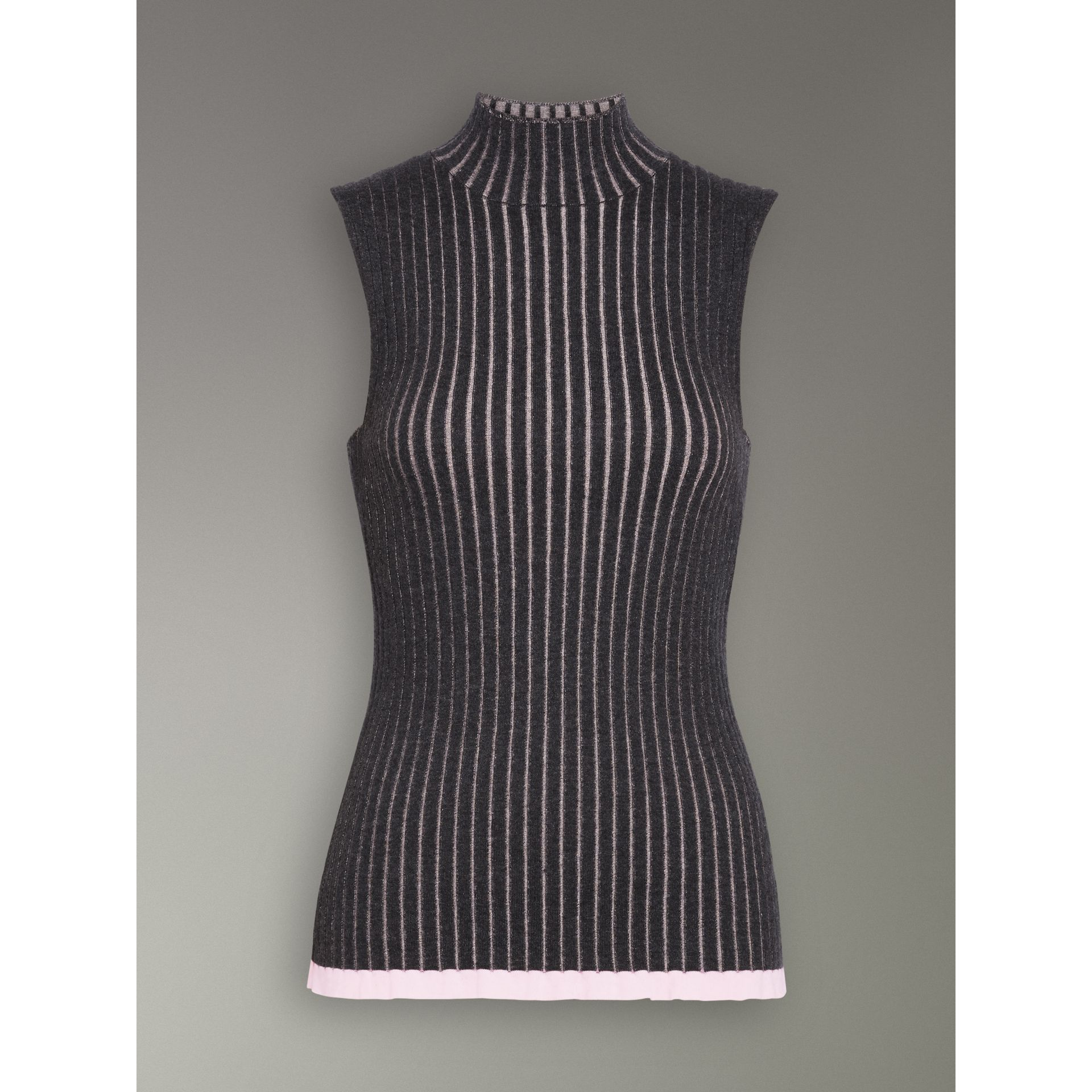 Sleeveless Rib Knit Cashmere Silk Turtleneck Sweater in Charcoal - Women | Burberry United Kingdom - gallery image 3
