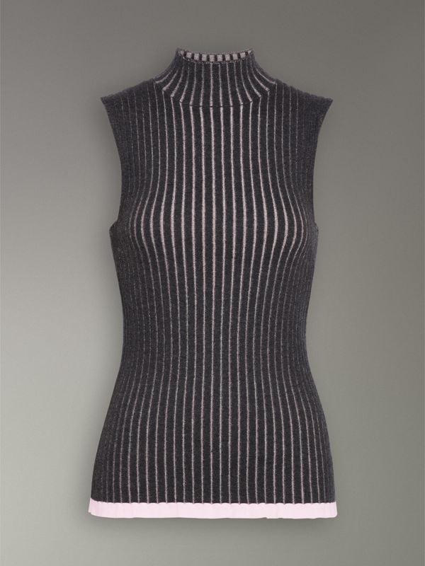 Sleeveless Rib Knit Cashmere Silk Turtleneck Sweater in Charcoal - Women | Burberry Hong Kong - cell image 3