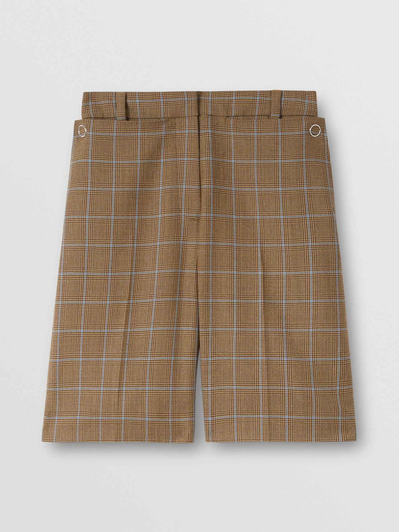 Pocket Detail Prince of Wales Check Wool Shorts in Birch Brown