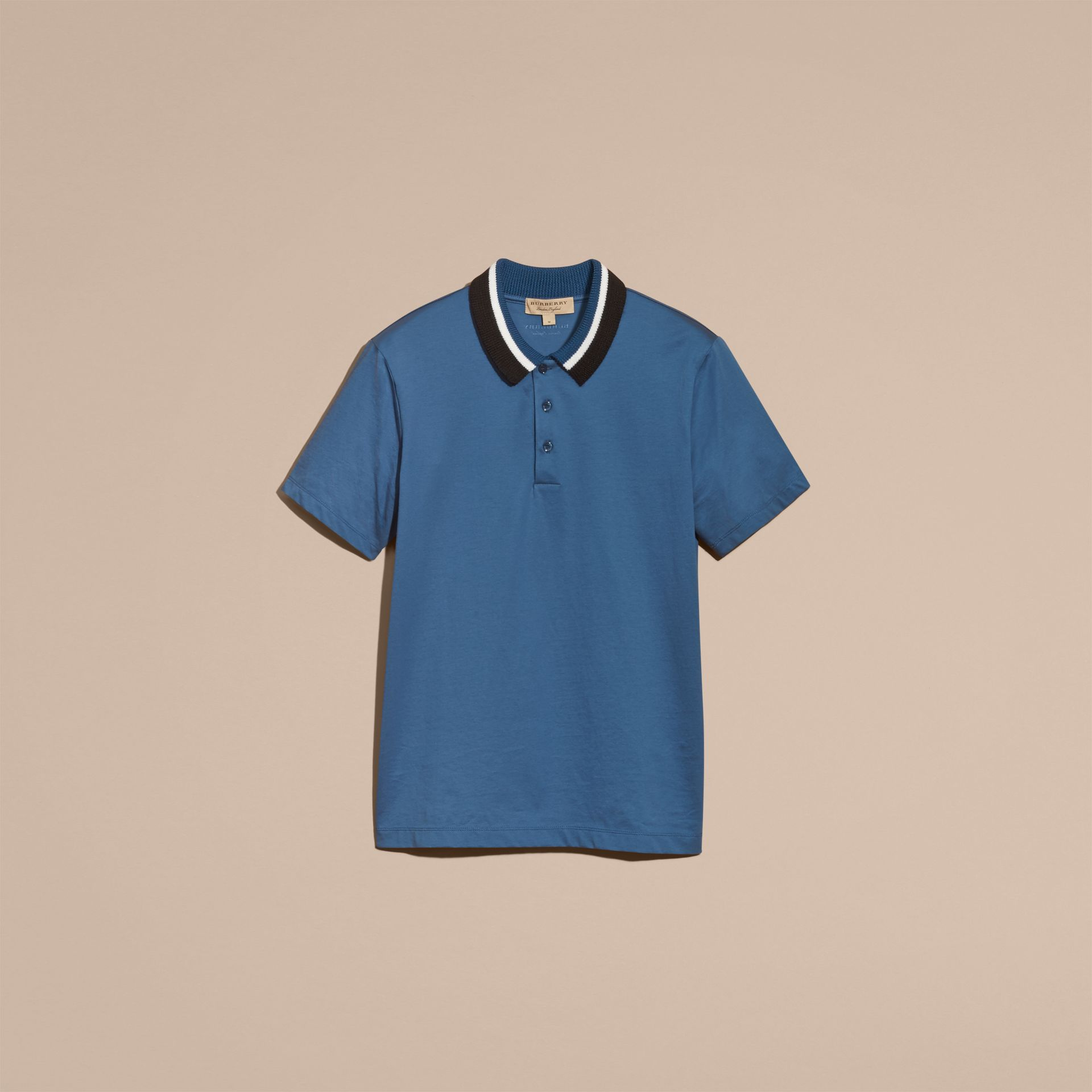 Mineral blue Cotton Polo Shirt with Knitted Collar Mineral Blue - gallery image 4