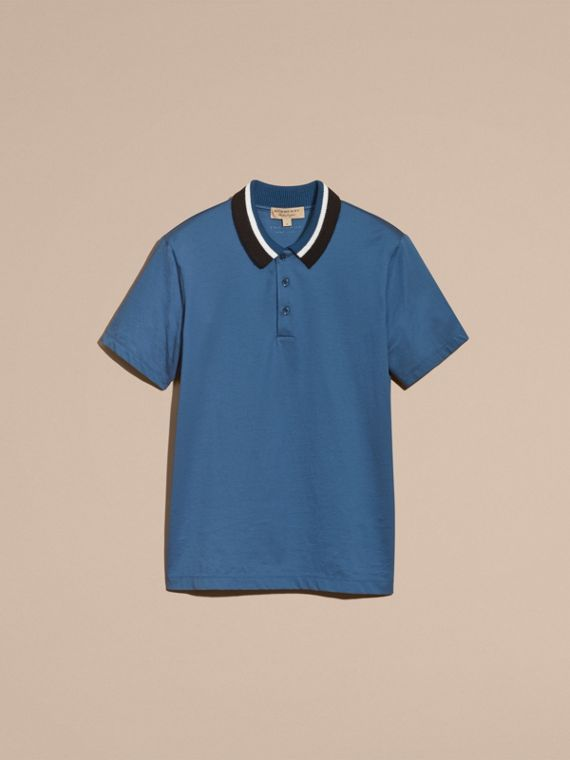 Mineral blue Cotton Polo Shirt with Knitted Collar Mineral Blue - cell image 3