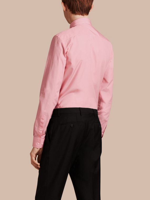 Slim Fit Cotton Poplin Shirt in City Pink - cell image 2