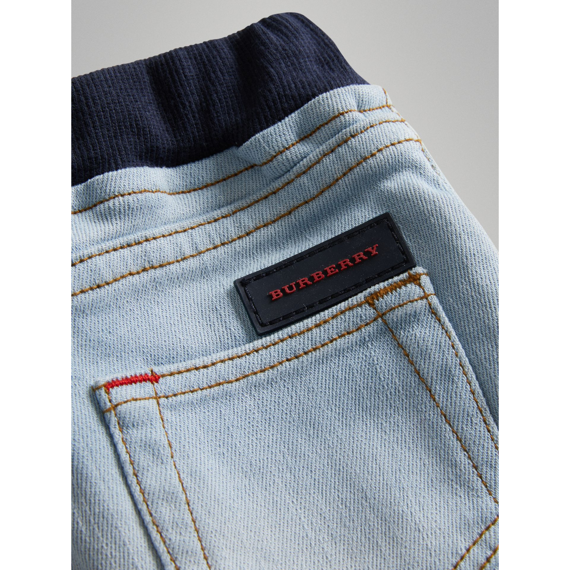 Relaxed Fit Pull-on Denim Jeans in Light Blue | Burberry - gallery image 1