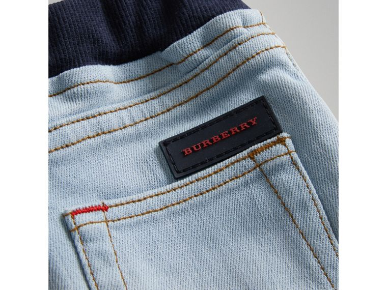 Relaxed Fit Pull-on Denim Jeans in Light Blue | Burberry - cell image 1
