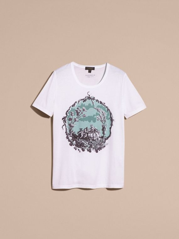 Bianco T-shirt in cotone con stampa tappezzeria - cell image 3