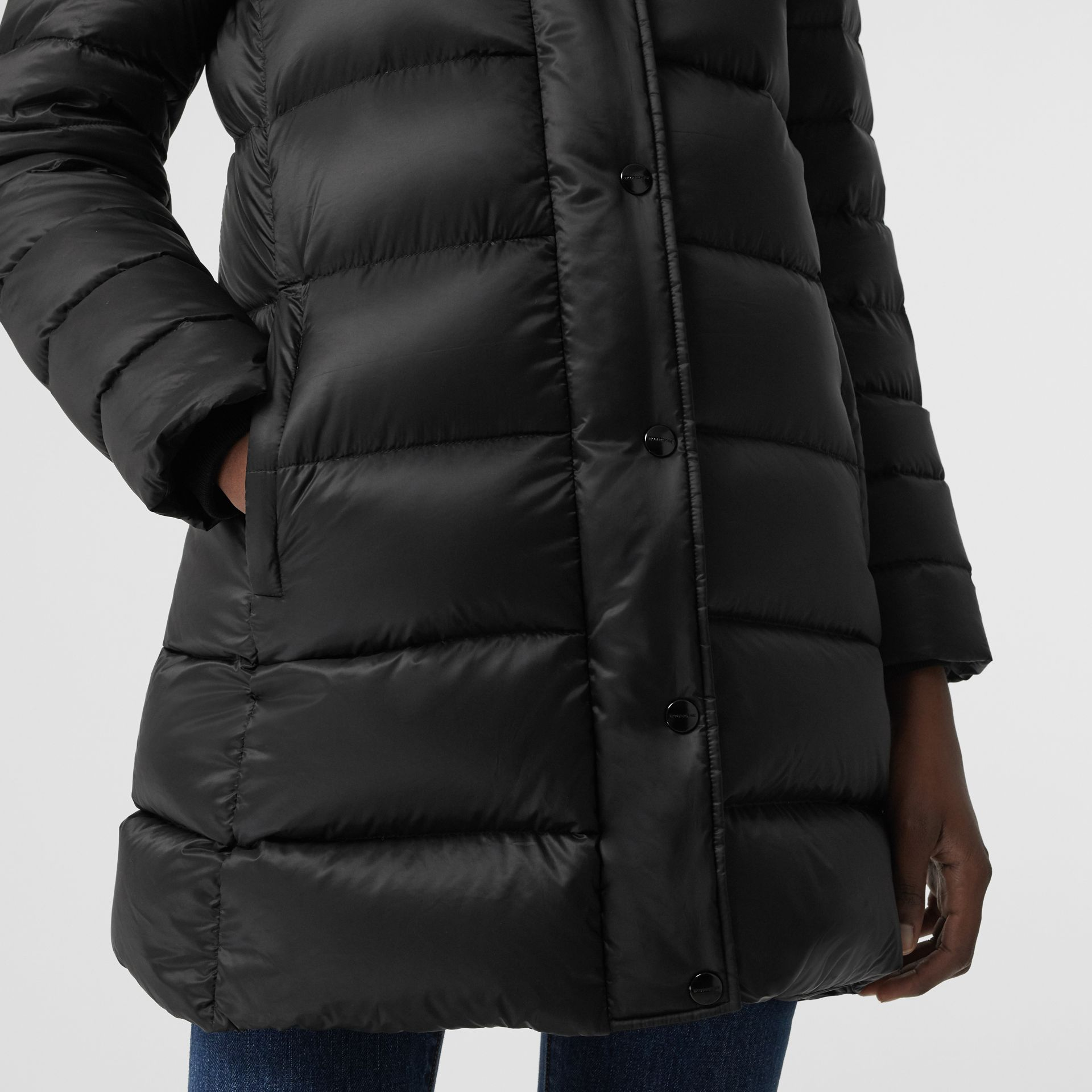 Down-filled Hooded Puffer Coat in Black - Women | Burberry - gallery image 4