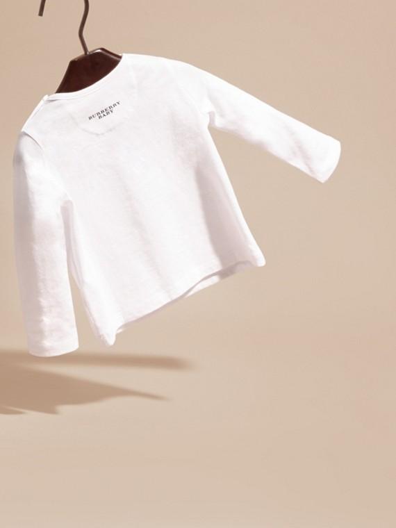 Blanc T-shirt en coton à manches longues avec motif Teddy-bear - cell image 3
