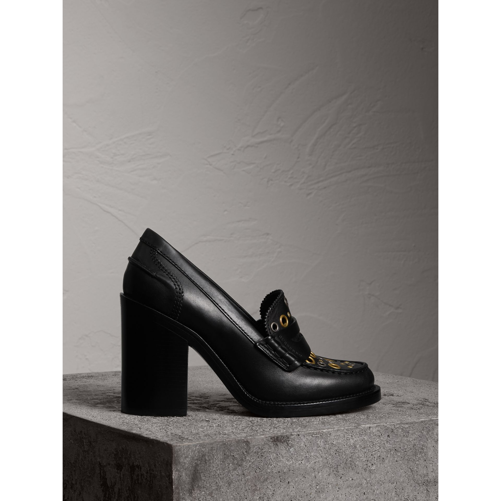 Eyelet Detail Leather Heeled Loafers in Black - Women | Burberry United Kingdom - gallery image 1