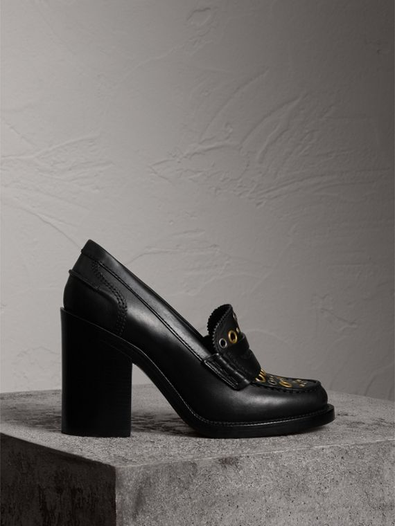 Eyelet Detail Leather Heeled Loafers in Black