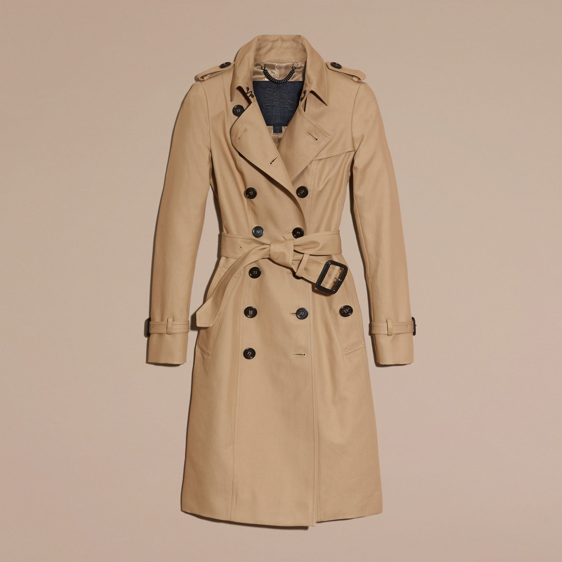 Honey Cotton Gabardine Trench Coat Honey - gallery image 4
