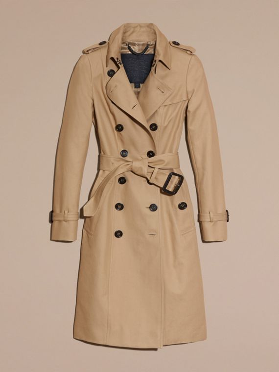 Cotton Gabardine Trench Coat Honey - cell image 3