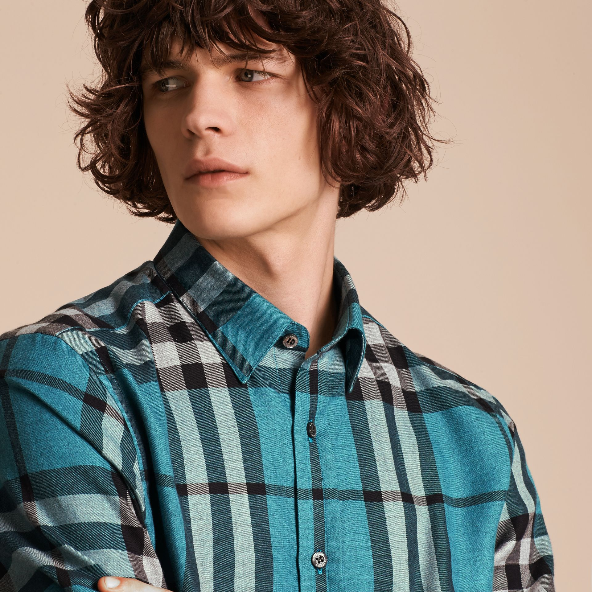 Check Cotton Cashmere Flannel Shirt in Bright Turquoise - gallery image 5